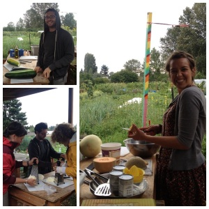 Apple Corps Member helping at the Community Kitchens NW event at Marra Farm