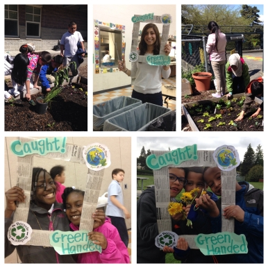 """Students at Emerson embraced the title of """"Compost Hero"""" with their fearless leader, Ms. Randa, a fellow Apple Corps Member (pictured top center)"""